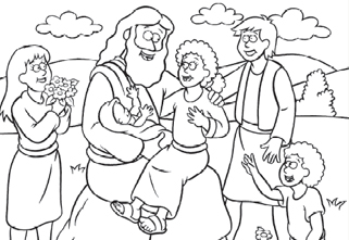 Free Coloring Page: Jesus and the Children